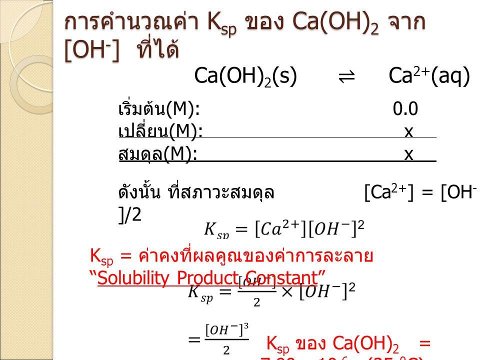 การคำนวณค่า Ksp ของ Ca(OH)2 จาก [OH-] ที่ได้
